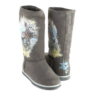ed hardy gray bootstrap 100 boots