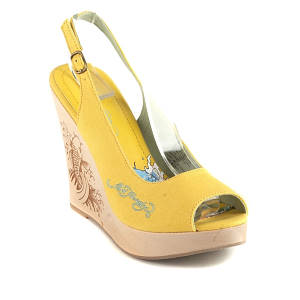 ed hardy yellow chantel heels